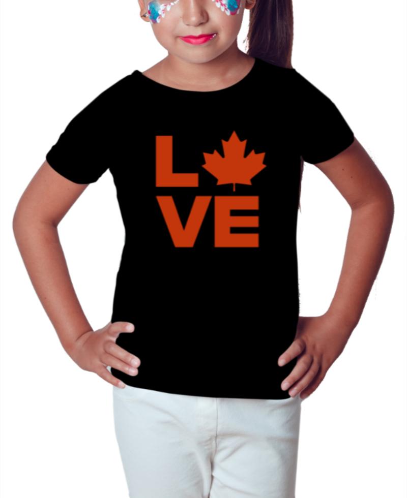 Canada Love - Camiseta Infantil Preta 2
