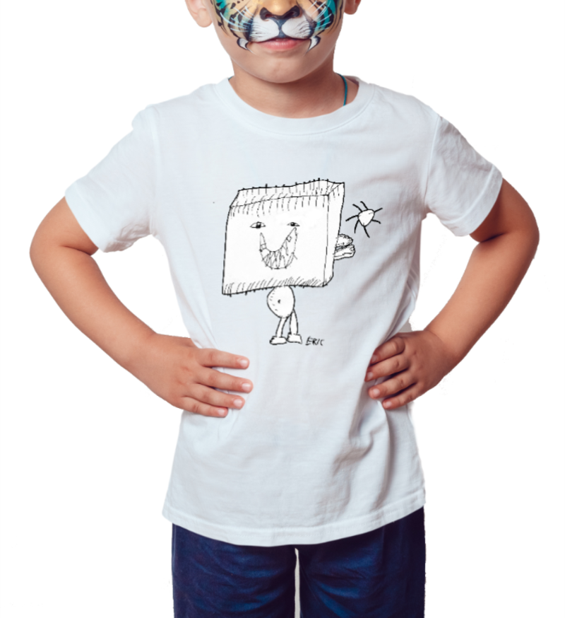 Homem Cubo - by Eric - Camiseta Infantil Branca