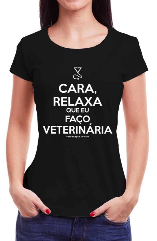 Relaxa que eu faço veterinária - Baby look preta