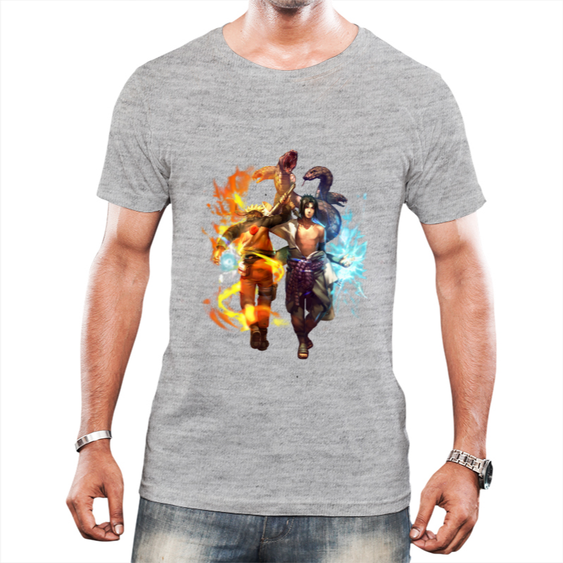 Camiseta Naruto e Sasuke Cinza