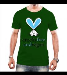 CAMISETA MASCULINA- Cruelty Free and Vegan- Verde escuro